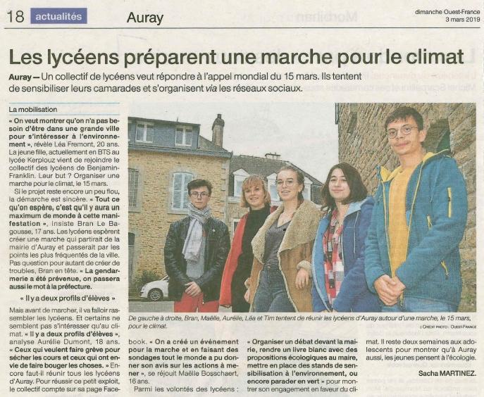 Les lycéens préparent une marche pour le climat