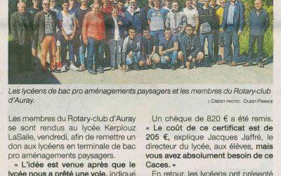 Don du Rotary-Club aux lycéens de Kerplouz
