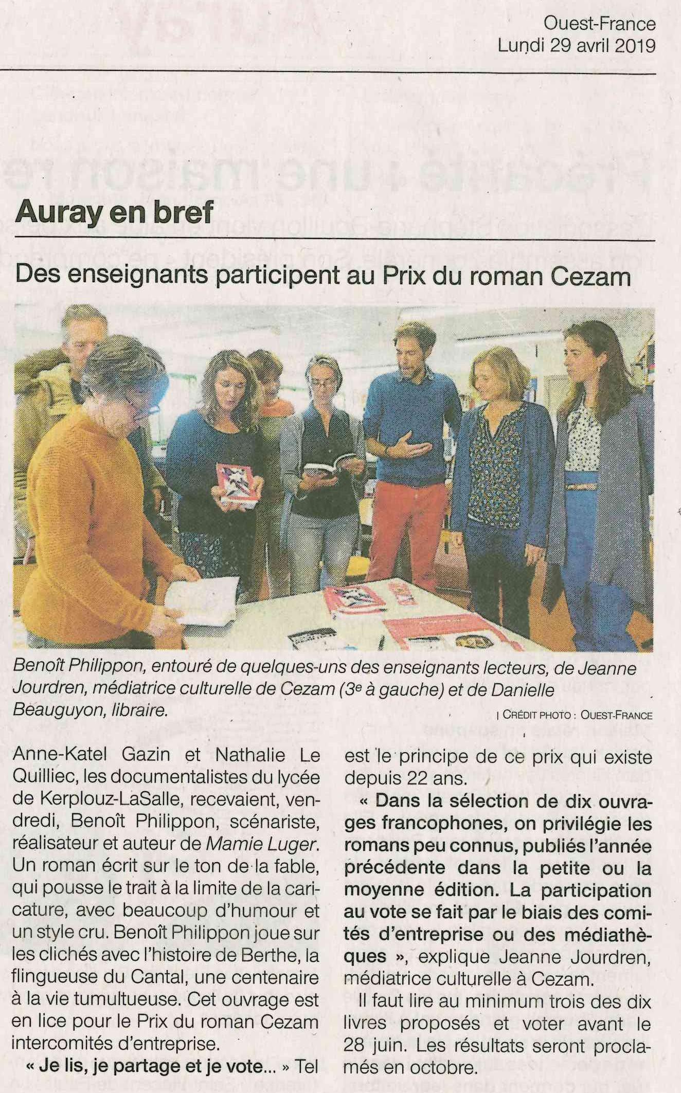 Des enseignants participent au Prix du roman Cezam