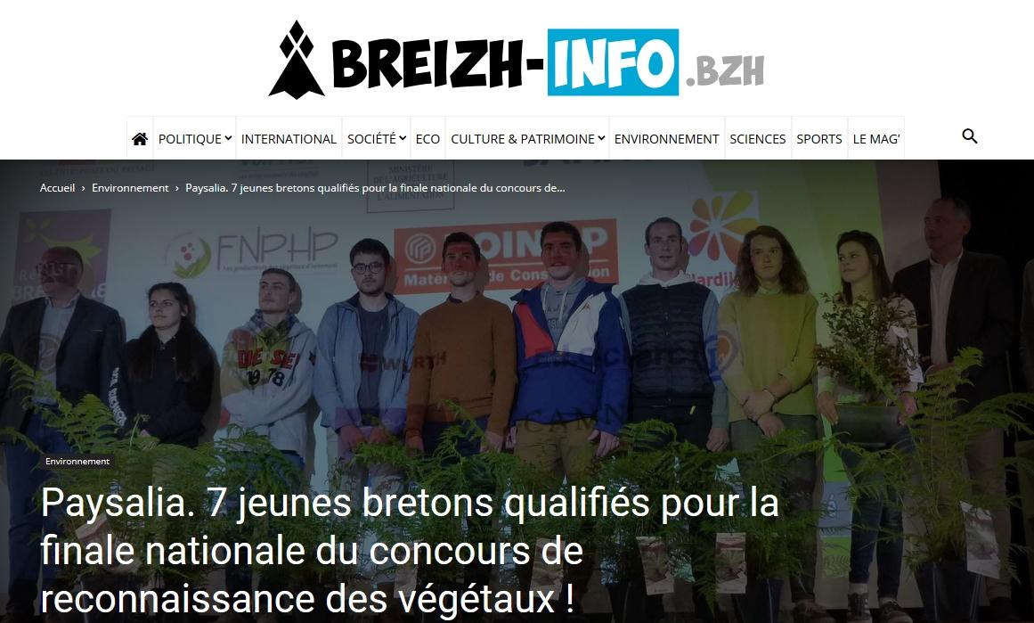 Paysalia. 7 jeunes bretons qualifiés pour la finale nationale du concours de reconnaissance des végétaux !