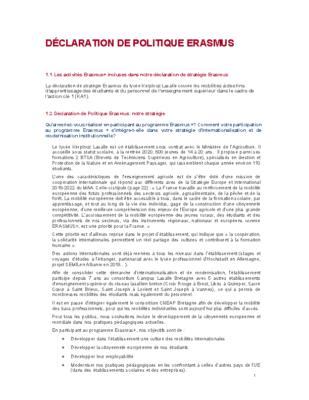 Déclaration de politique Erasmus 2021 2027