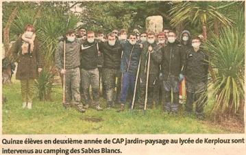 Les élèves de Kerplouz en stage au camping ( 1 article Ouest-France et  1 article Le Télégramme)