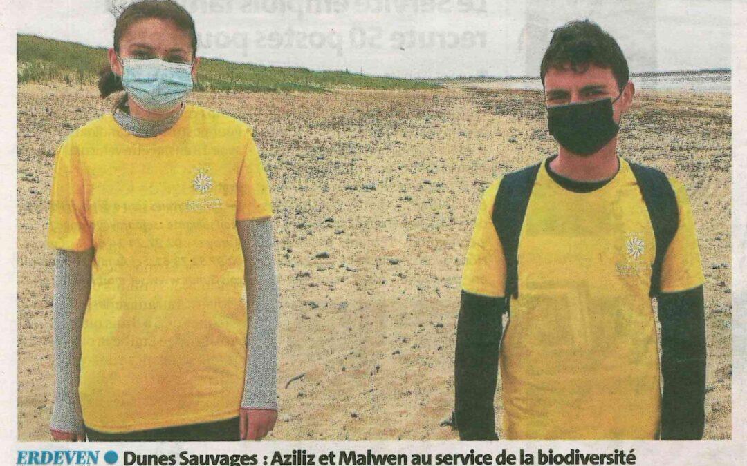 Dunes sauvages : Aziliz et Malwen au service de la biodiversité (1 article Le Télégramme + 1 article Ouest-France)