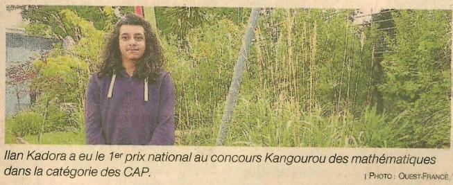 1re prix national au concours Kangourou des Maths