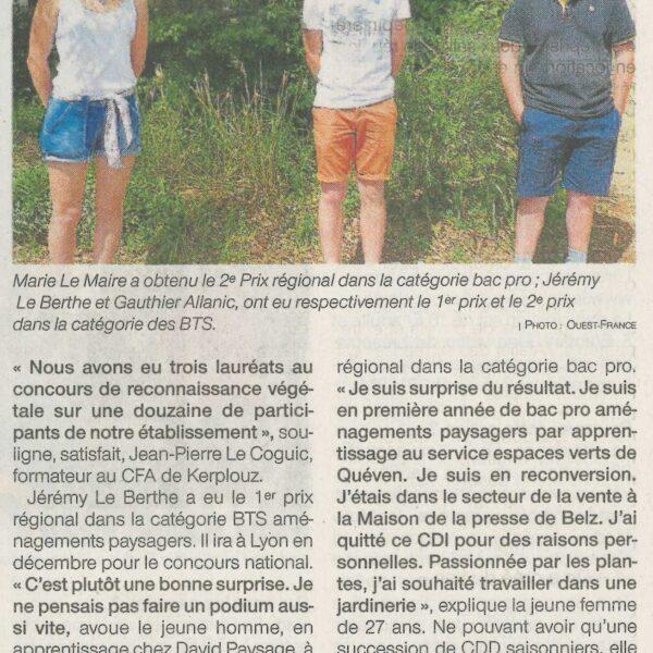 Trois élèves de Kerplouz primés (1 article Ouest-France + 1 article Le Télégramme)