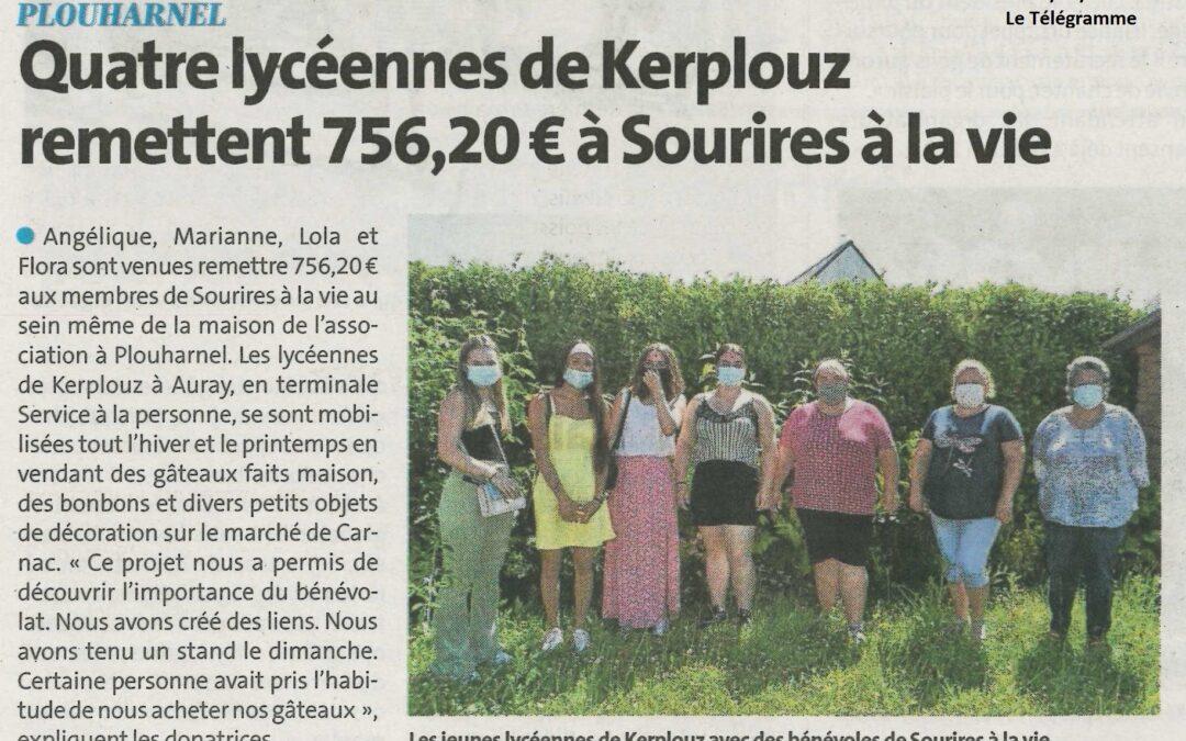 Plouharnel : Quatre lycéennes de Kerplouz remettent 756,20 euros à Sourires à la vie (1 article Le Télégramme + 1 article Ouest-France)