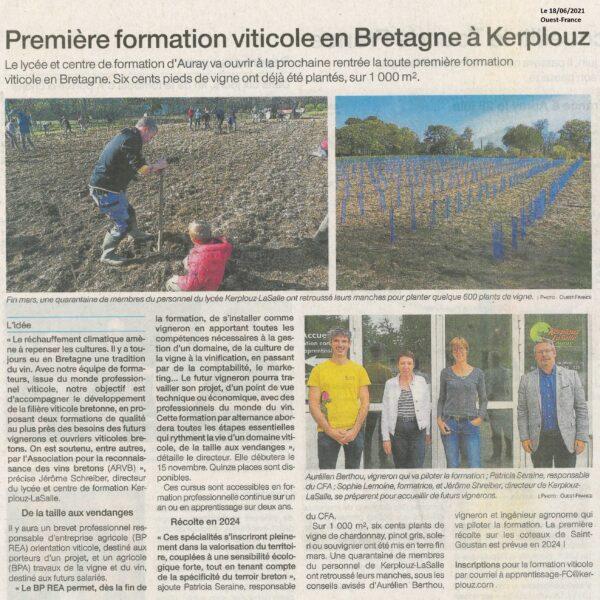 Première formation viticole en Bretagne à Kerplouz