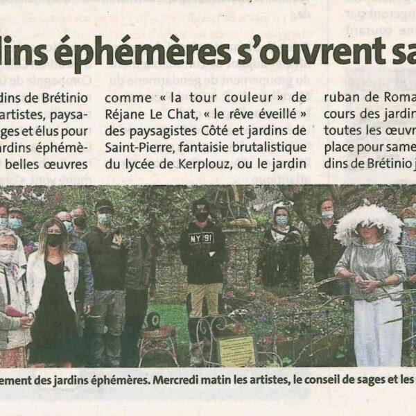 Quiberon : Les jardins éphémères s'ouvrent samedi (1 article Ouest-France + 1 article Le Télégramme)