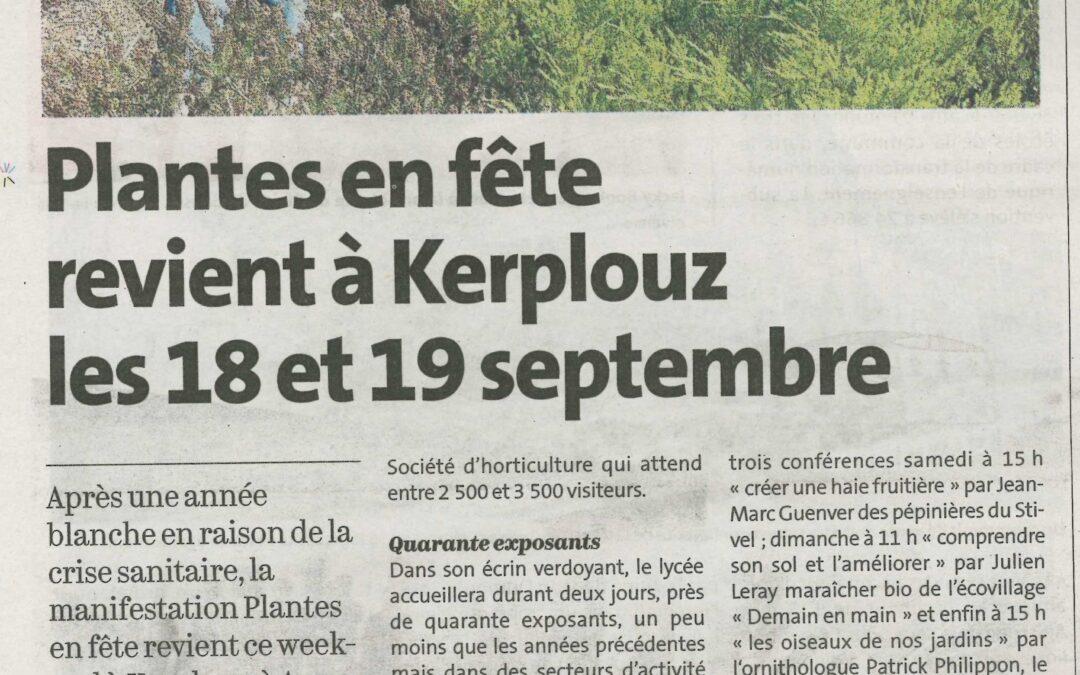Plantes en fête revient à Kerplouz les 18 et 19 septembre (1 article Le Télégramme + 1 article Ouest-France)