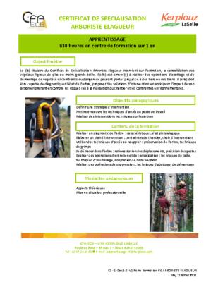 Fiche formation CS Arboriste Elagueur App
